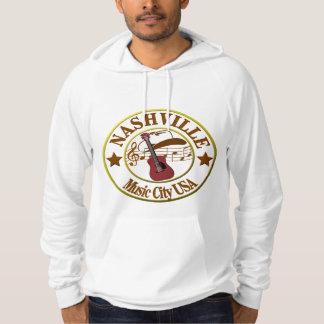 ナッシュビル音楽都市フリースのプルオーバーのフード付きスウェットシャツ パーカ