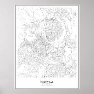 ナッシュビル、米国の最小主義の地図ポスター ポスター