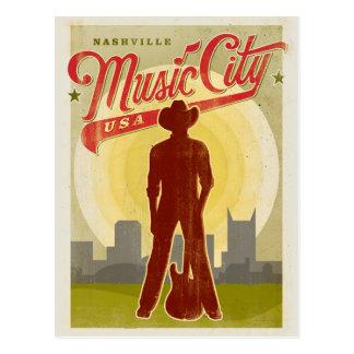 ナッシュビル、TN -音楽都市米国 ポストカード