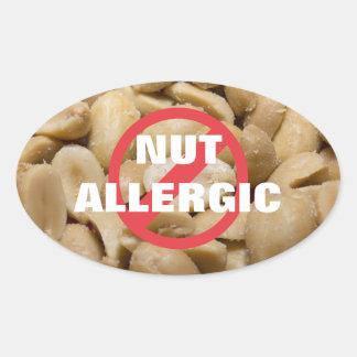 ナットのアレルギーのステッカー 楕円形シール