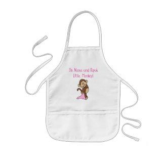 ナナおよびパパの猿-ピンクのTシャツおよびギフト 子供用エプロン