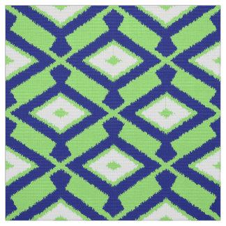 ナバホー人のイカットパターン-緑、藍色および白 ファブリック