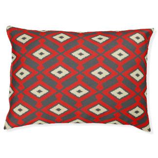 ナバホー人のイカットパターン-赤、灰色およびベージュ色 ペットベッド