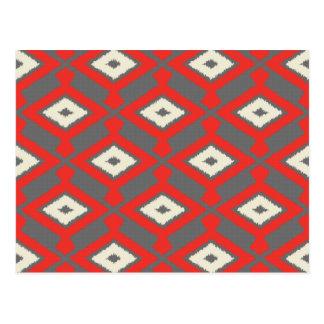 ナバホー人のイカットパターン-赤、灰色およびベージュ色 ポストカード