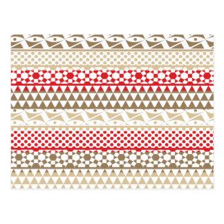 ナバホー人の幾何学的でアステカなアンデス種族のプリントパターン ポストカード