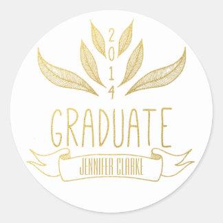ナバホー人%PIPE%の金ゴールドの卒業のステッカー ラウンドシール