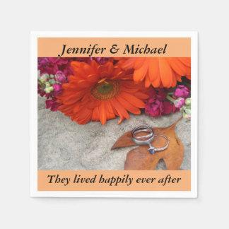 ナプキンの結婚披露宴は秋の花柄を個人化します スタンダードカクテルナプキン