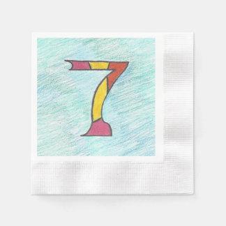ナプキンの置かれるクールな青の幸運な7 縁ありカクテルナプキン