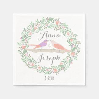 ナプキンを結婚している素朴な愛鳥 スタンダードカクテルナプキン