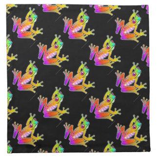 ナプキン-カエルのポップアート ナプキンクロス