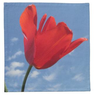 ナプキン-布-右Faciの赤いチューリップの青空 ナプキンクロス