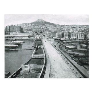 ナポリの水辺地帯の道1908年 ポストカード