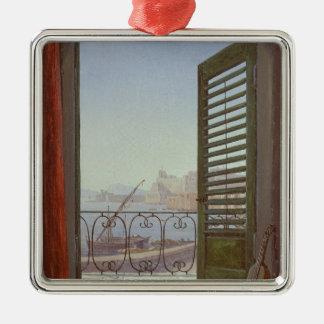ナポリの湾の眺めのバルコニー部屋 シルバーカラー正方形オーナメント
