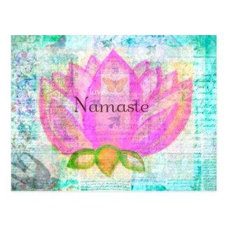 ナマステのピンクのはす平和な芸術 ポストカード