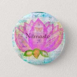 ナマステのピンクのはす平和な芸術 5.7CM 丸型バッジ