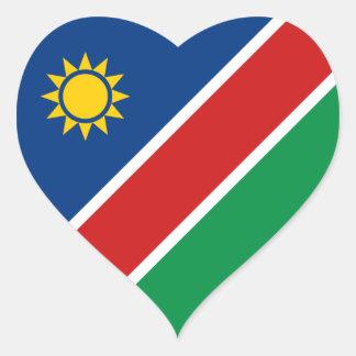 ナミビアの旗のハートのステッカー ハートシール