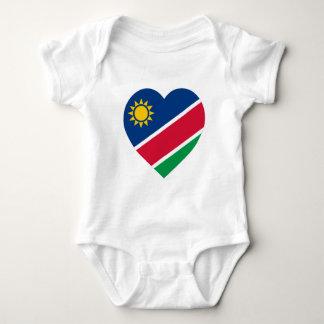 ナミビアの旗のハート ベビーボディスーツ