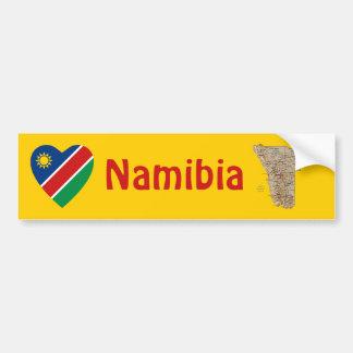ナミビアの旗のハート + 地図のバンパーステッカー バンパーステッカー