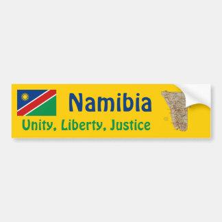 ナミビアの旗 + 地図のバンパーステッカー バンパーステッカー