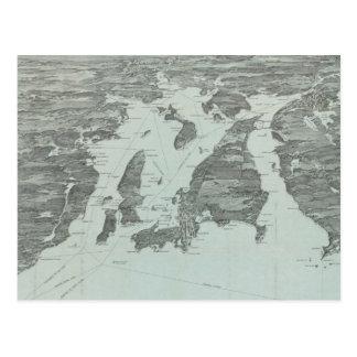 ナラガンセト湾(1907年)のヴィンテージの絵解き地図 ポストカード