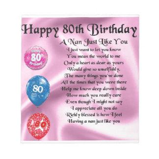 ナンの詩-第80誕生日 ノートパッド