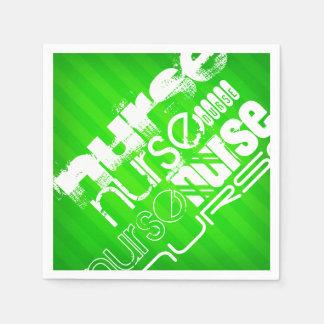 ナース; ネオン緑のストライプ スタンダードカクテルナプキン