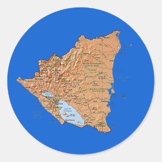 ニカラグアの地図のステッカー ラウンドシール