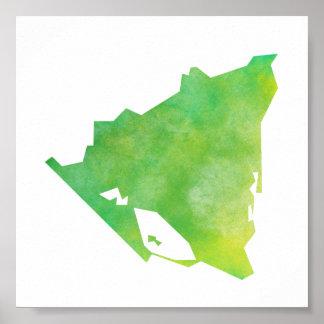 ニカラグアの地図 ポスター
