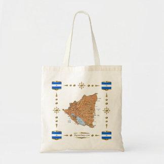ニカラグアの地図 + 旗のバッグ トートバッグ