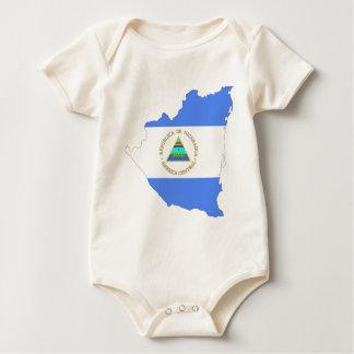 ニカラグアの旗の地図 ベビーボディスーツ