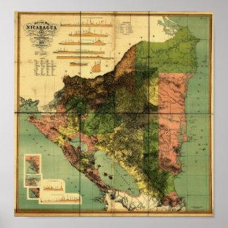 ニカラグアの1898人の役人の地図 ポスター