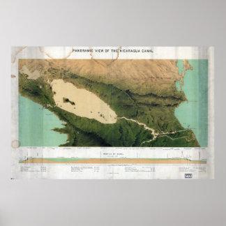 ニカラグア運河(1870年)の地図 ポスター