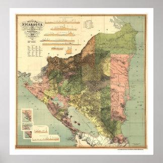 ニカラグア1898年の公式の地図 ポスター