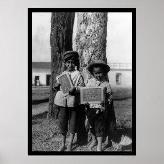 ニカラグア1910年のスケッチを持つ男の子 ポスター