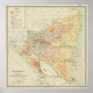 ニカラグア(1903年)のヴィンテージの地図 ポスター