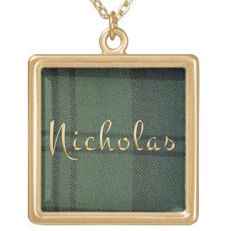 ニコラスはDunbarのタータンチェックのペンダントを名前決め付けました ゴールドプレートネックレス