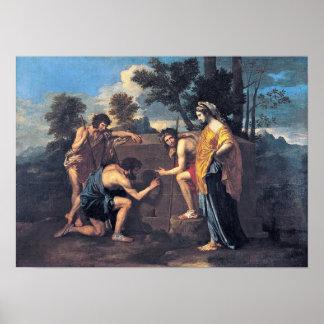 ニコラスPoussin -アルカディアの羊飼い ポスター