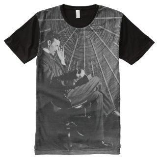ニコラ・テスラの調査 オールオーバープリントT シャツ