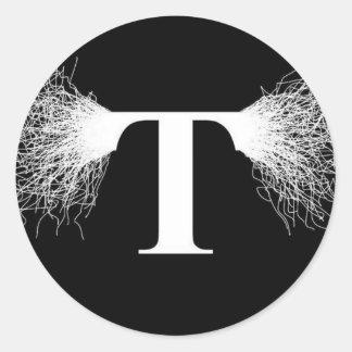 ニコラ・テスラ-テスラコイル-稲妻 ラウンドシール