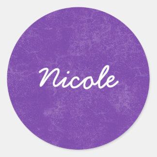 ニコールの紫色の白い名前をカスタムするのギフトのコレクション ラウンドシール