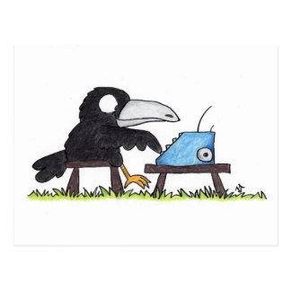 ニコールJanes著作のタイプライターのカラスの郵便はがき ポストカード