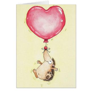 ニコールJanes著気球のハリネズミの挨拶状 カード