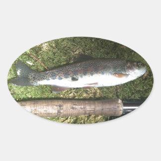 ニジマスおよびはえの魚釣りの巻き枠 楕円形シール