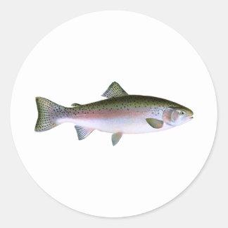 ニジマスのニジマスの魚釣りのロゴ ラウンドシール