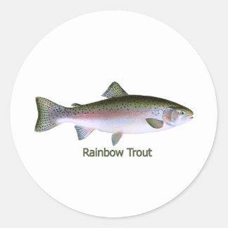 ニジマスの魚釣りのロゴ ラウンドシール