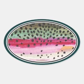 ニジマスの魚釣り 楕円形シール