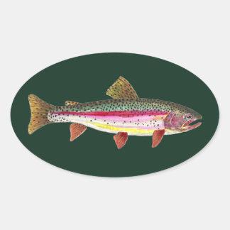 ニジマスの魚 楕円形シール