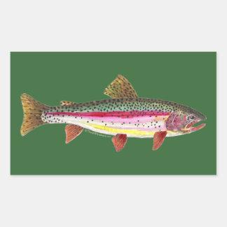 ニジマスの魚 長方形シール