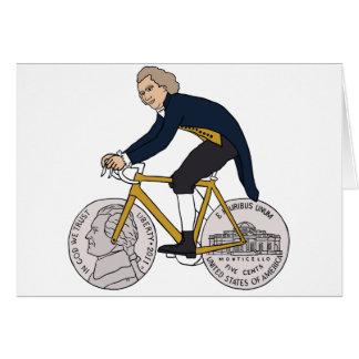 ニッケルの車輪が付いているトーマス・ジェファーソンの乗馬のバイク カード