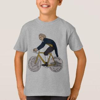 ニッケルの車輪が付いているトーマス・ジェファーソンの乗馬のバイク Tシャツ